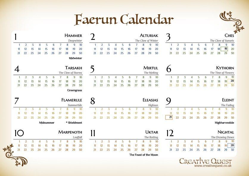 Faerun Calendar