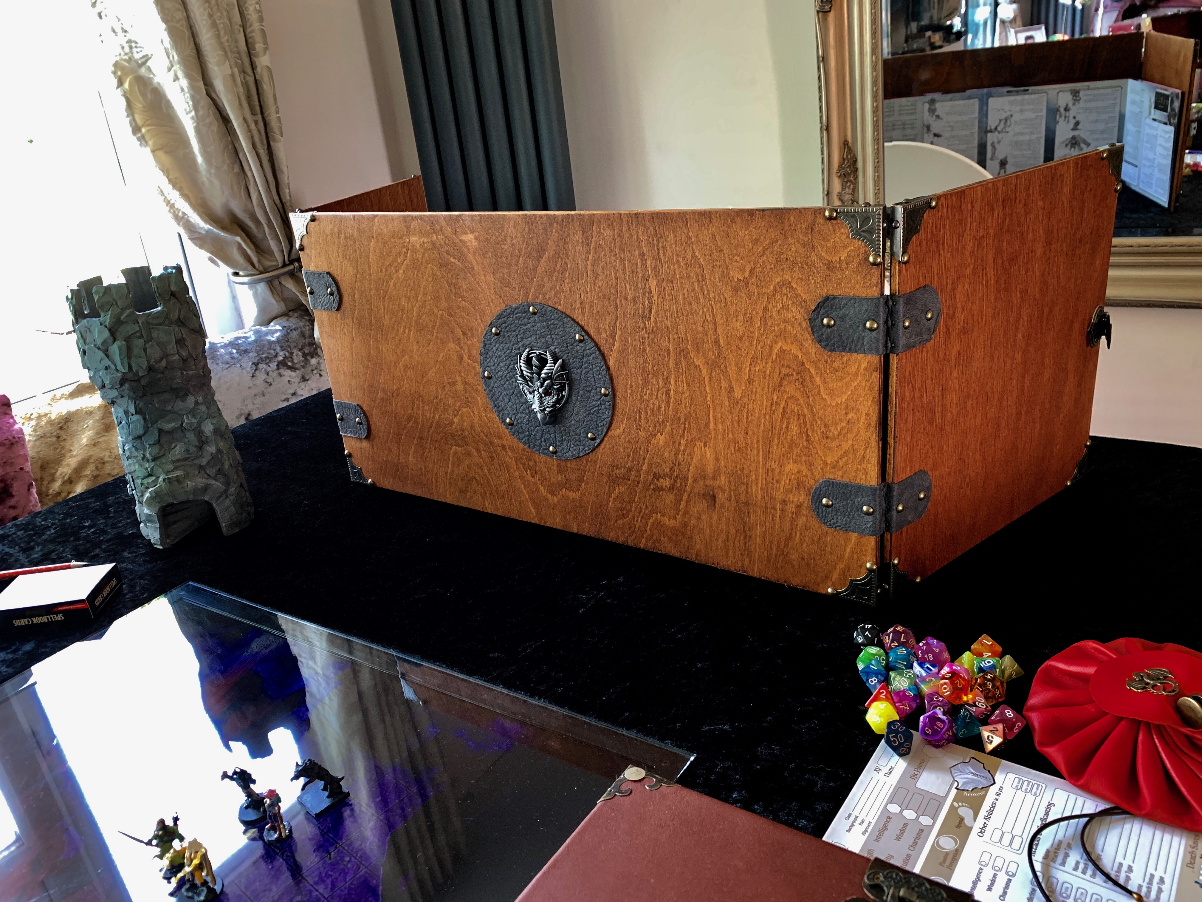 Grey Leather Dragon Wooden Dungeon Master DM Screen