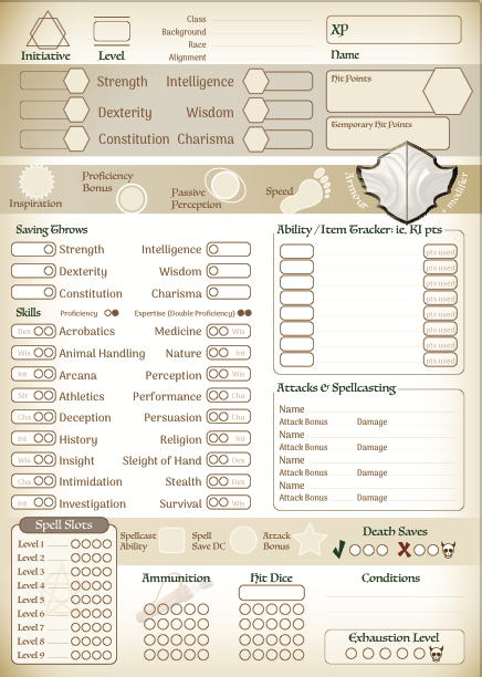 Dungeons & Dragons Character Sheets 5e